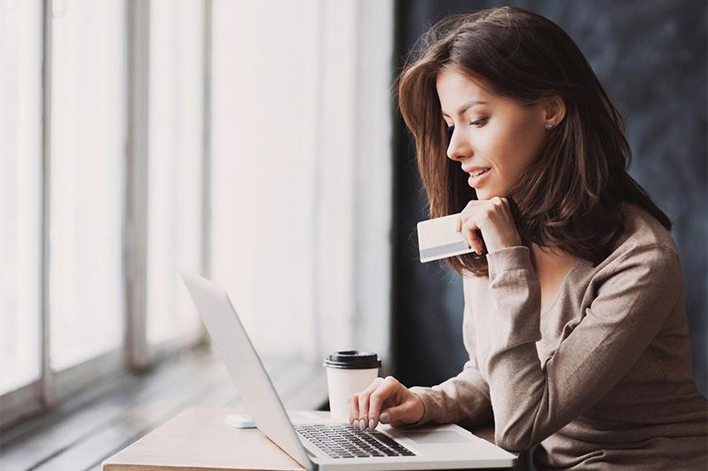 women making an online purchase
