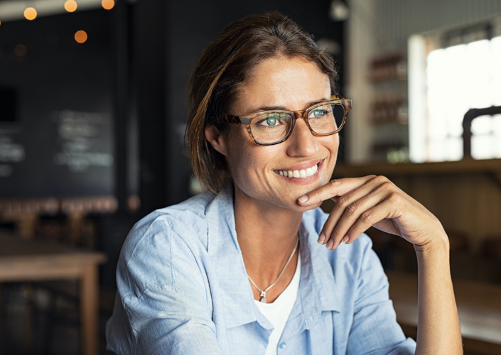 woman with smile in her business